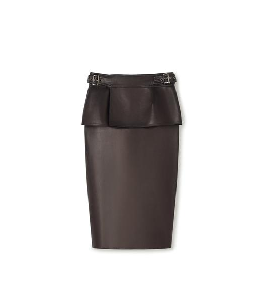 LEATHER PENCIL SKIRT WITH PEPLUM BELT