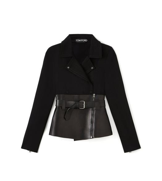 BELTED BIKER JACKET WITH LEATHER INSERT