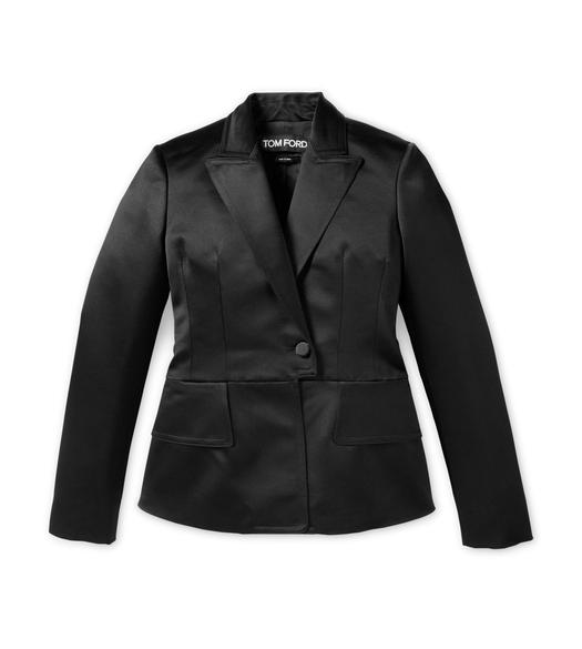 SILK SATIN FITTED PEAK LAPEL JACKET