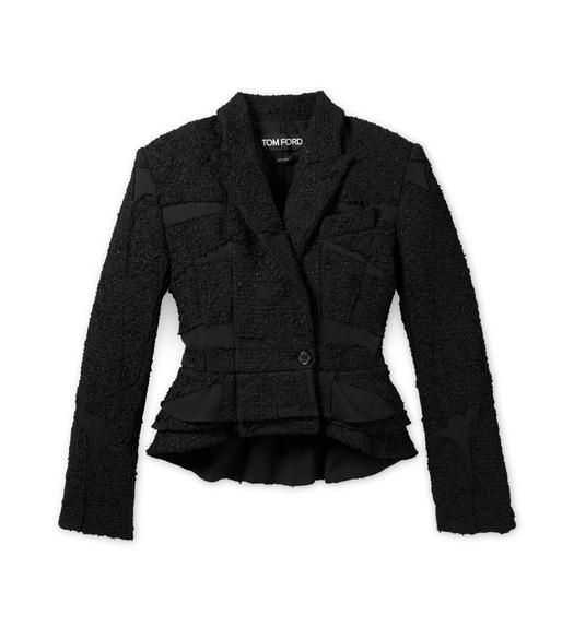 DOUBLE BREASTED TWEED PATCHWORK PEPLUM JACKET