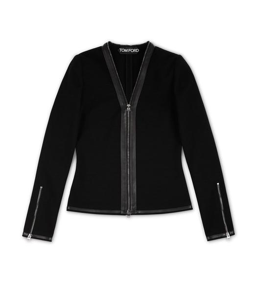 COMPACT WOOL JERSEY CARDIGAN