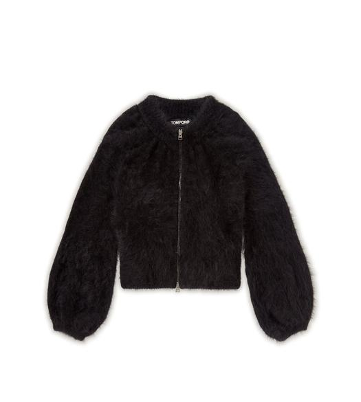 ANGORA WOOL CROPPED ZIP CARDIGAN
