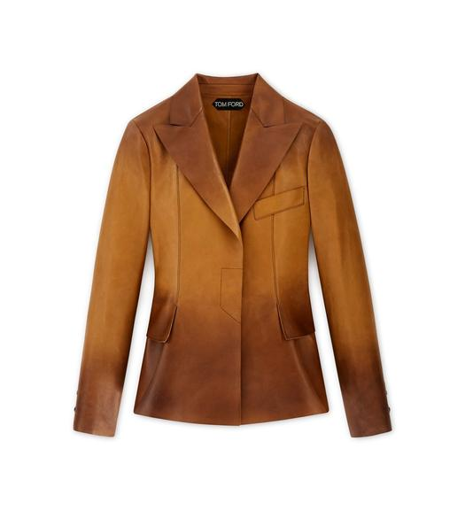 COGNAC PLONGE LEATHER JACKET