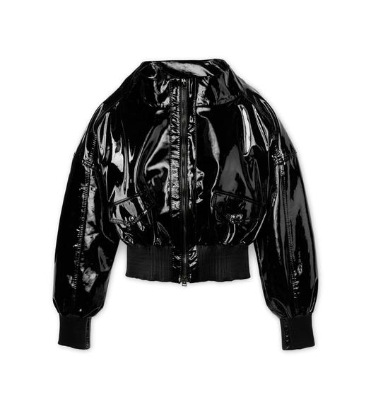 PATENT LEATHER ZIP BOMBER JACKET