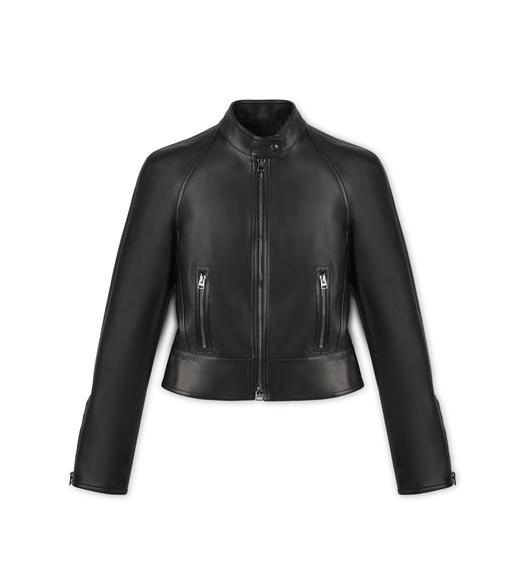 LEATHER JACKET WITH PEPLUM SHOULDER