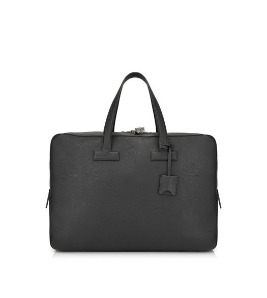 T LINE GRAINED LEATHER MEDIUM BRIEFCASE