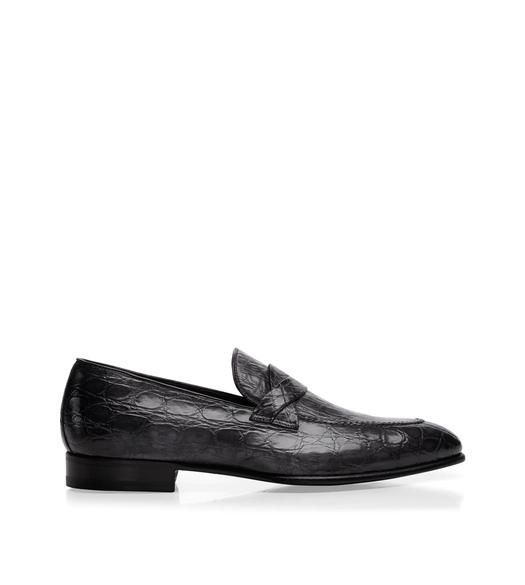 Adney Crocodile Braided-Band Loafer