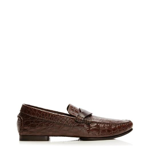 Grant Crocodile Braided-Band Loafer