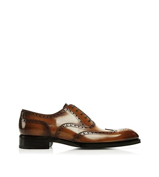 Edward Burnished Leather French Brogue Wingtip Lace-Up