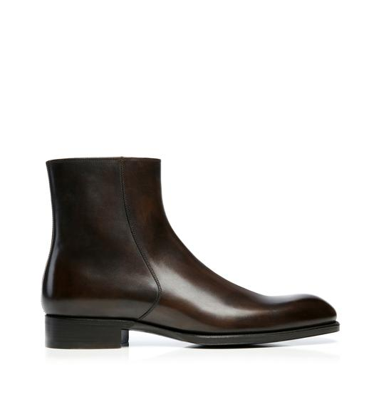 Edward Burnished Leather Zip Chelsea Boot