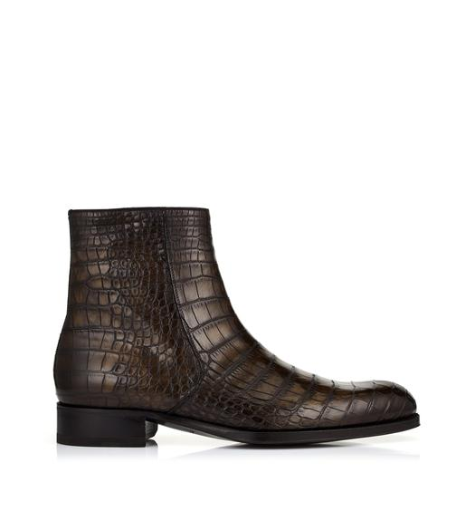 EDGAR ALLIGATOR HAND POLISHED ZIP BOOTS