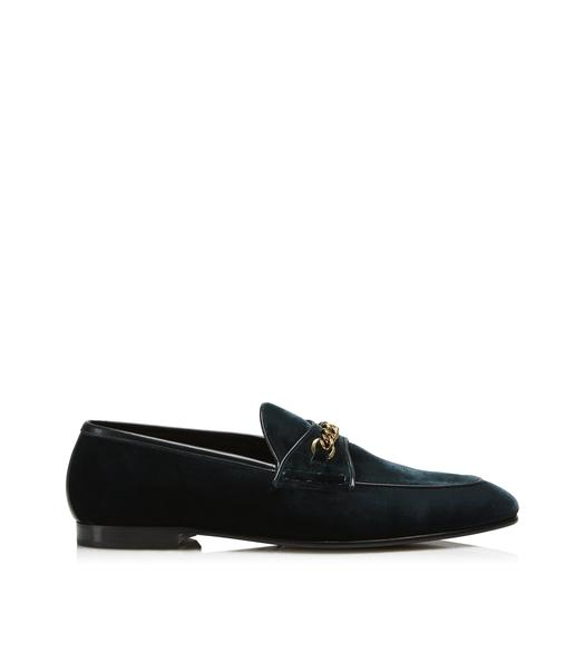 VELVET VALOIS CHAIN LOAFERS