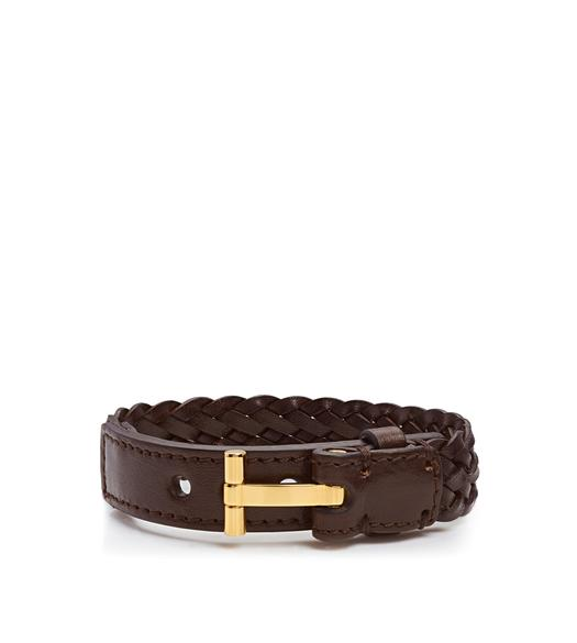 WOVEN LEATHER T BRACELET