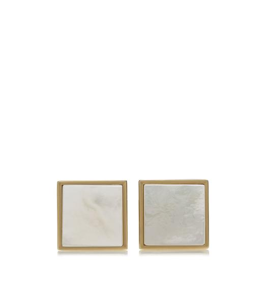 GOLD AND PEARL SQUARE CUFFLINKS
