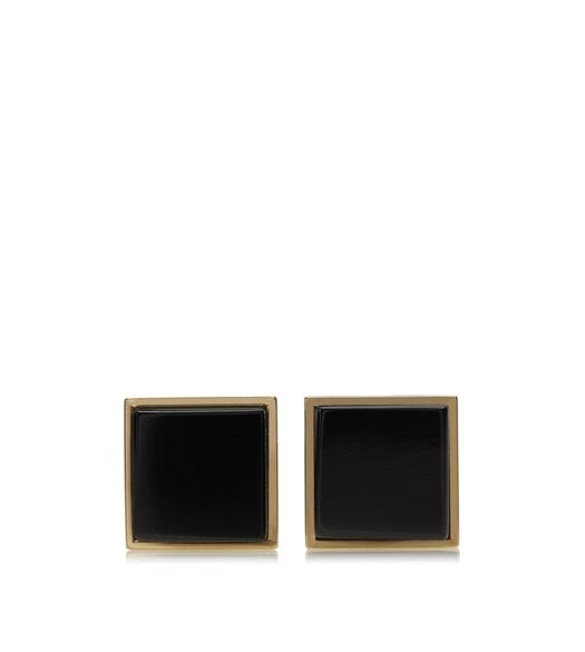 GOLD AND ONYX SQUARE CUFFLINKS