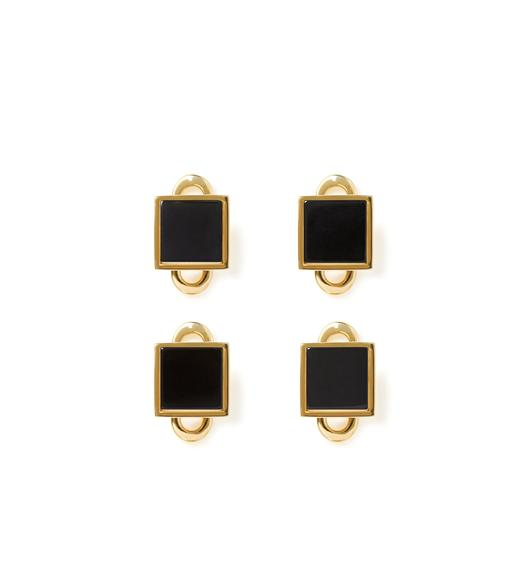 GOLD AND ONYX SQUARE STUDS