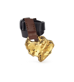 LEATHER WRAP CUFF WITH GOLD