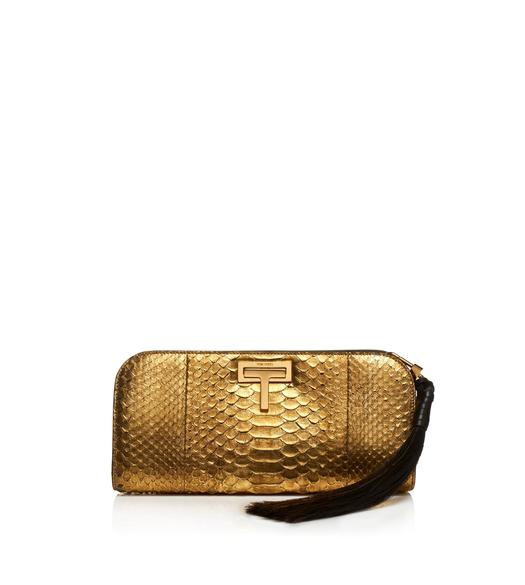 MEDIUM METALLIC PYTHON SASKIA CLUTCH