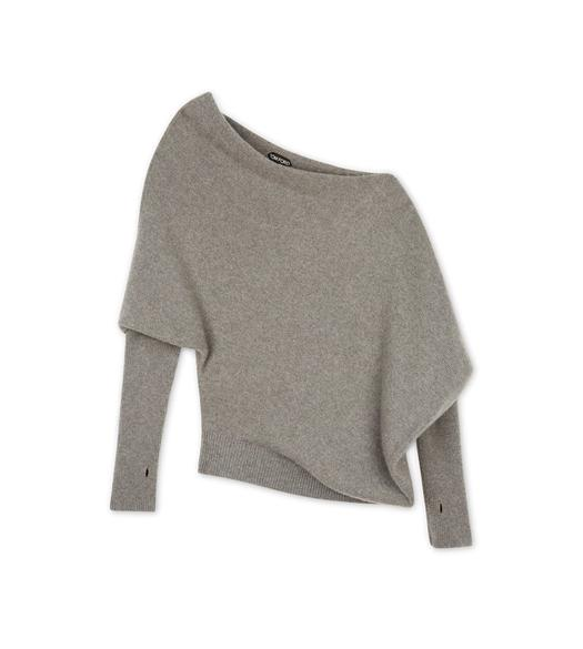 OFF-SHOULDER ASYMMETRICAL CASHMERE KNIT TOP