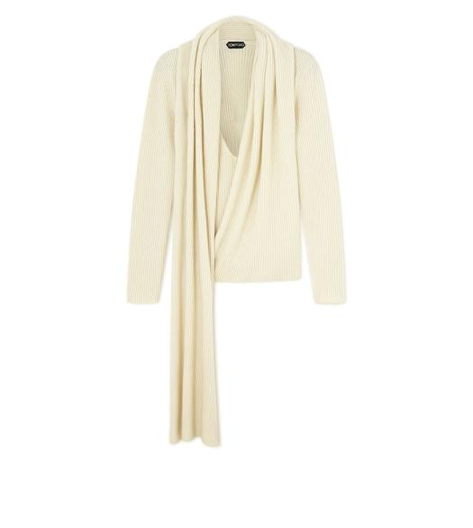 CASHMERE RIB WRAP-NECK TOP