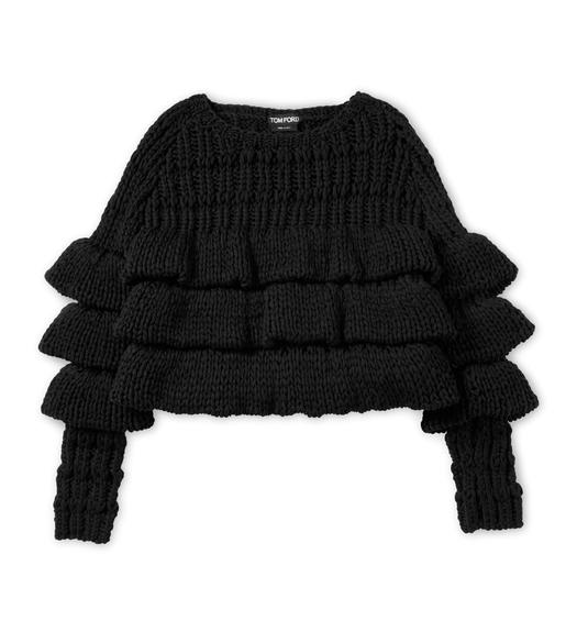 CROPPED LAYERED WOOL SWEATER