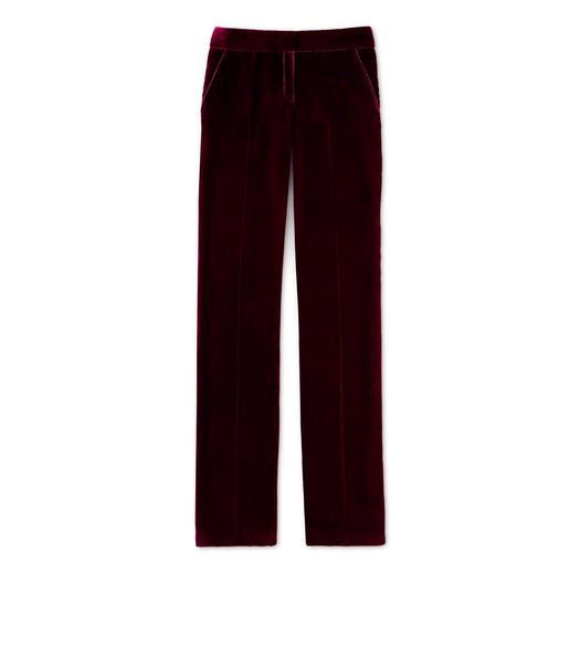 VELVET TAILORED STRAIGHT-LEG TROUSERS