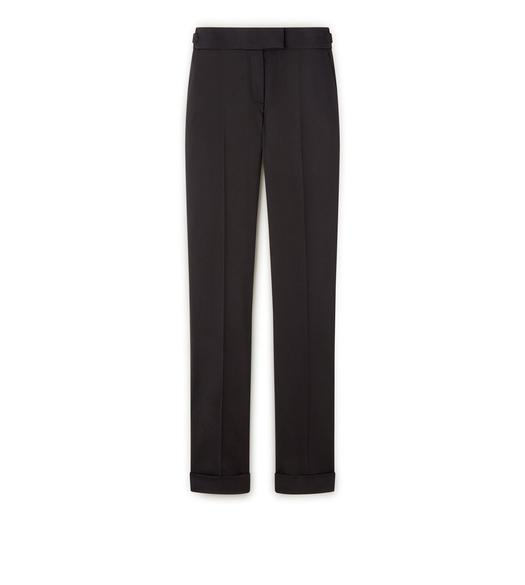 WOOL GABARDINE STRETCH SLIM TROUSERS WITH CUFF