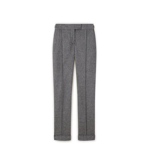 PRINCE OF WALES CHECK SLIM TROUSERS WITH CUFF