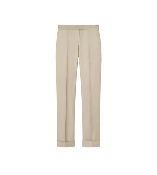 SHINY VISCOSE SLIM TROUSERS WITH CUFF