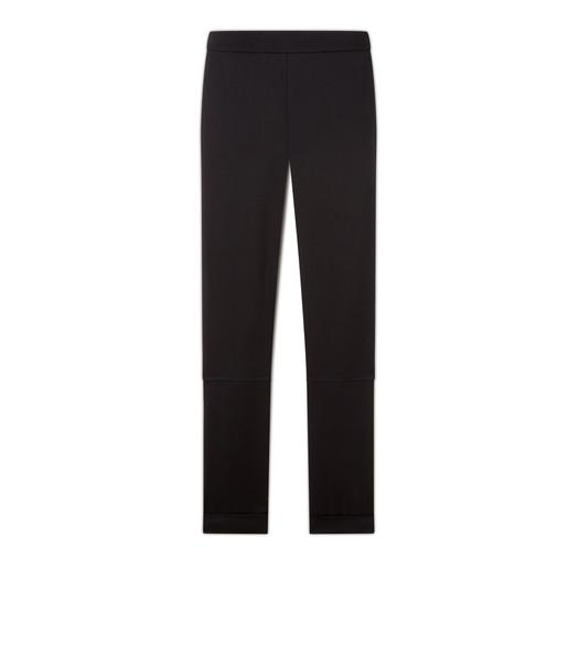 WOOL GABARDINE LEGGINGS WITH ANKLE CUFF & ZIP