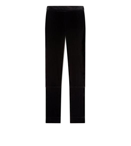 VELVET LEGGINGS WITH ANKLE CUFF & ZIP