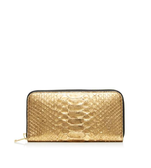 METALLIC PYTHON TF ZIP AROUND WALLET