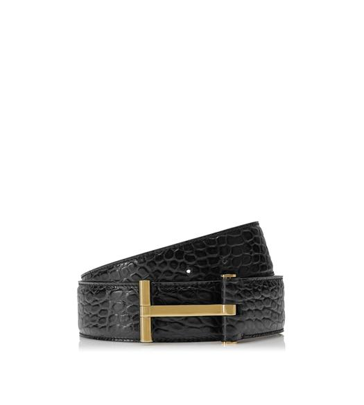 CROCODILE AND GOLD T BUCKLE BELT