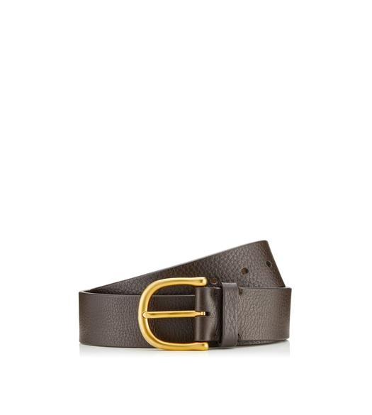 GRAINED LEATHER BELT WITH GOLD BUCKLE