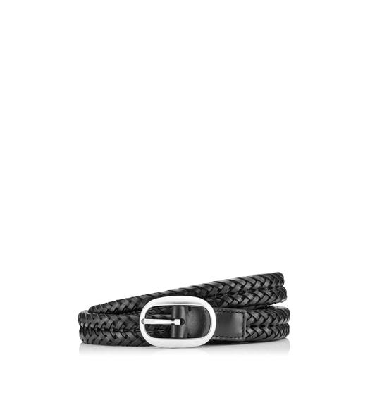 SLIM WOVEN LEATHER BELT