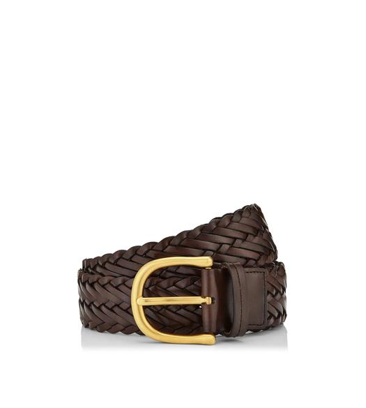 WOVEN LEATHER BELT WITH GOLD BUCKLE