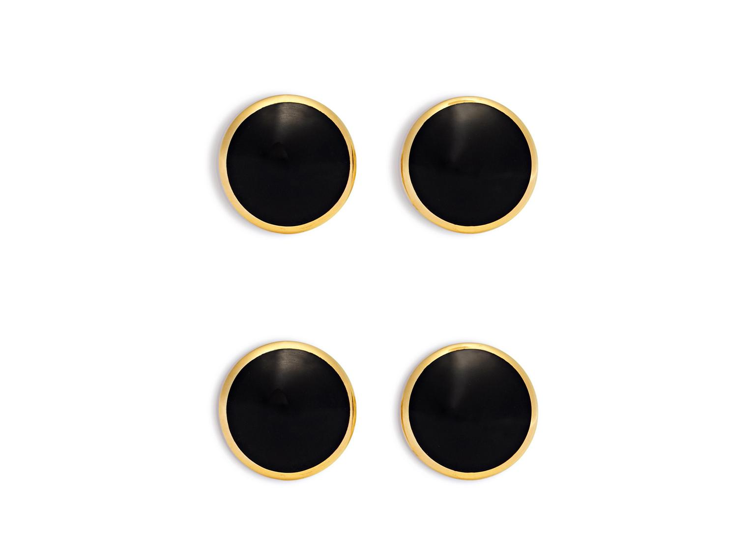 Onyx And Gold Disc Studs Set