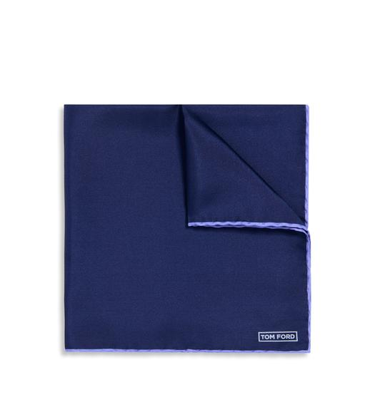NAVY WITH LILAC EDGE SILK POCKET SQUARE