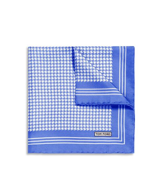 GRAPHIC HOUNDSTOOTH PRINT SILK POCKET SQUARE