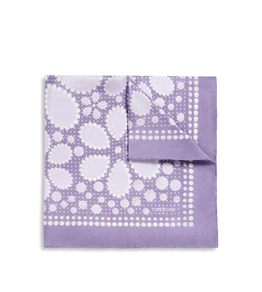 DOTTED FLOWER PRINT SILK POCKET SQUARE
