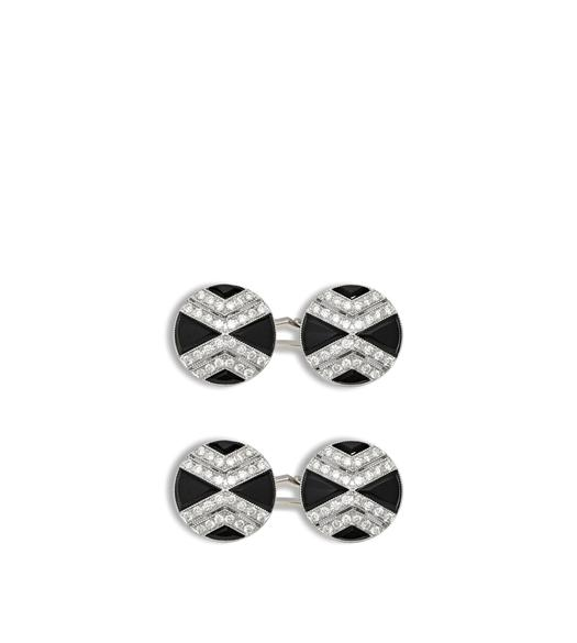 Onyx and Diamond Cross Cufflinks