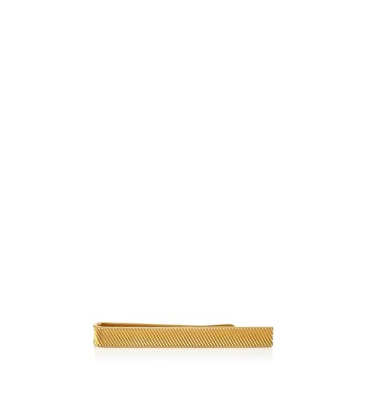 SHORT GOLD DIAGONAL STRIPED TIE BAR