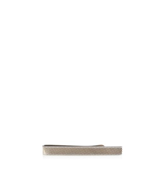 SHORT SILVER DIAGONAL STRIPED TIE BAR