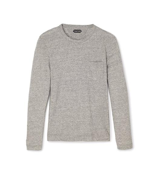 COTTON CASHMERE LIGHTWEIGHT MARL JERSEY LONG-SLEEVED T-SHIRT