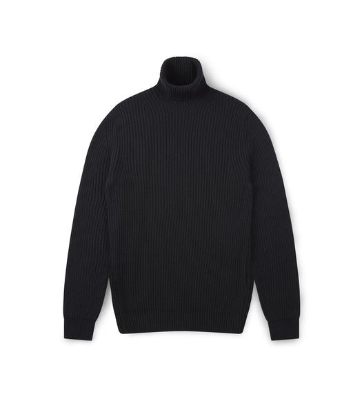CASHMERE BLEND RIBBED TURTLENECK