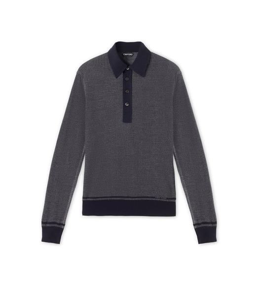 TEXTURED JACQUARD LONG-SLEEVED POLO