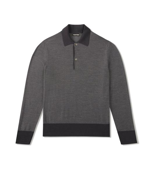 SILK MERINO TEXTURED POLO