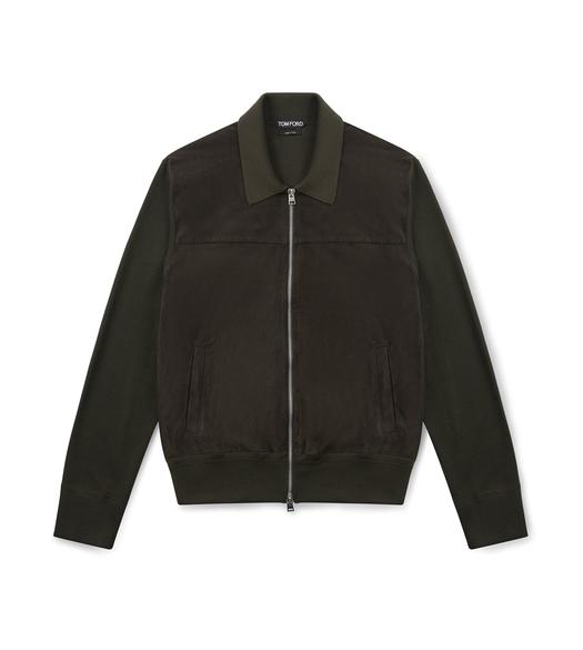 SUEDE FRONT KNIT POLO JACKET