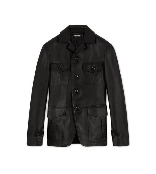 LEATHER MILITARY BLACK JACKET