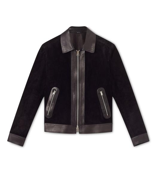 CASHMERE SUEDE AND LEATHER CONTRAST BLOUSON